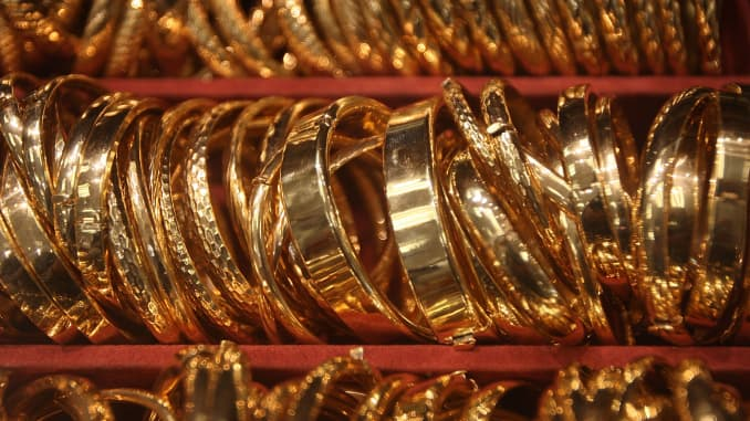 reusable: gold bangles