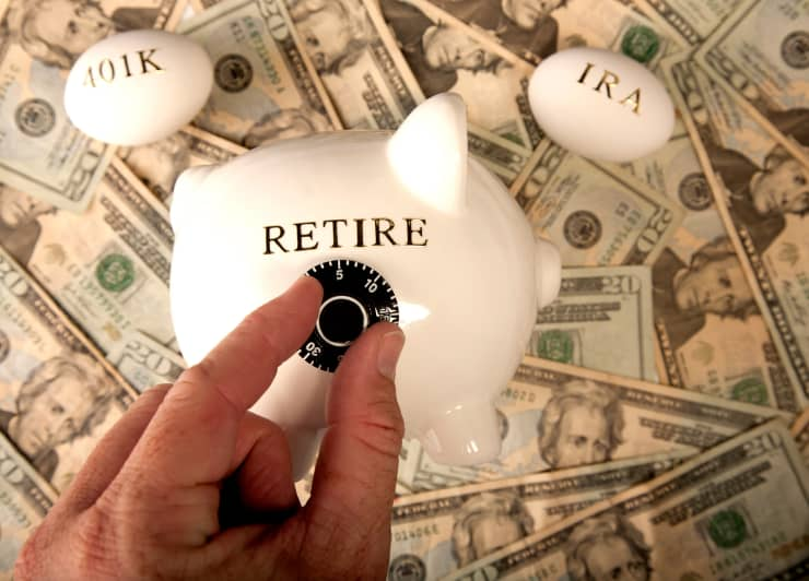 Premium: 401K piggy bank combination lock retirement personal finance
