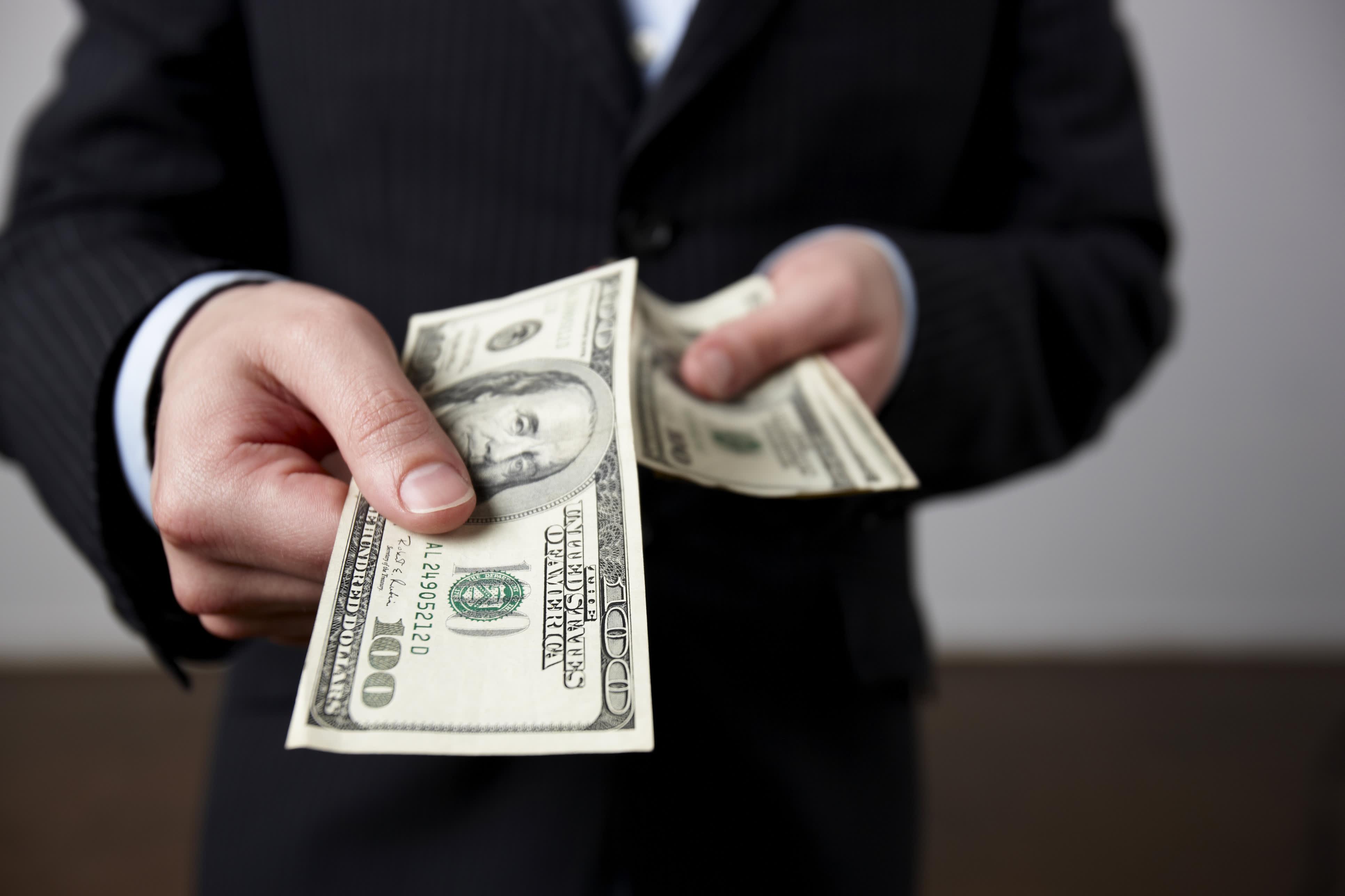 Image result for handing money