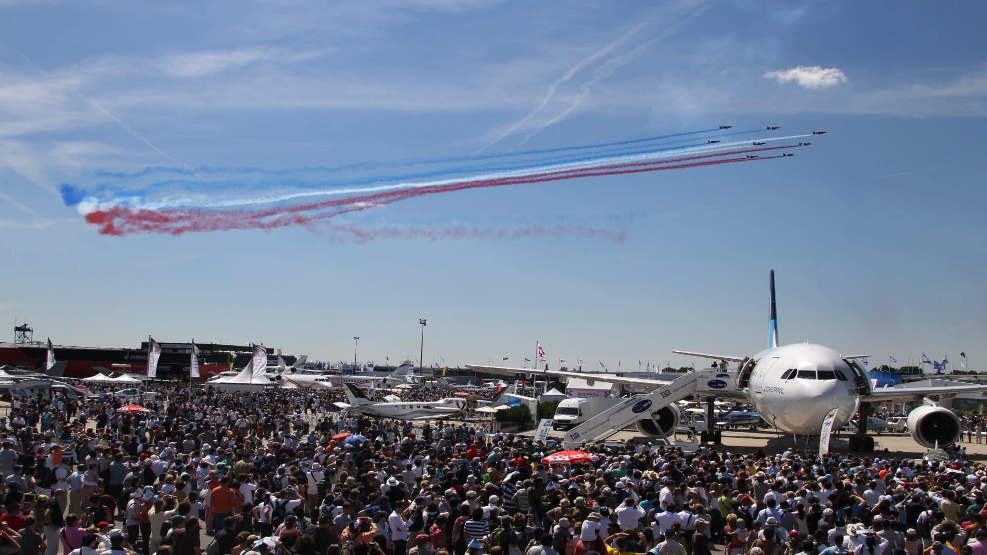 The French ''Patrouille de France'' perform aerobatics at the Paris Air Show in 2011