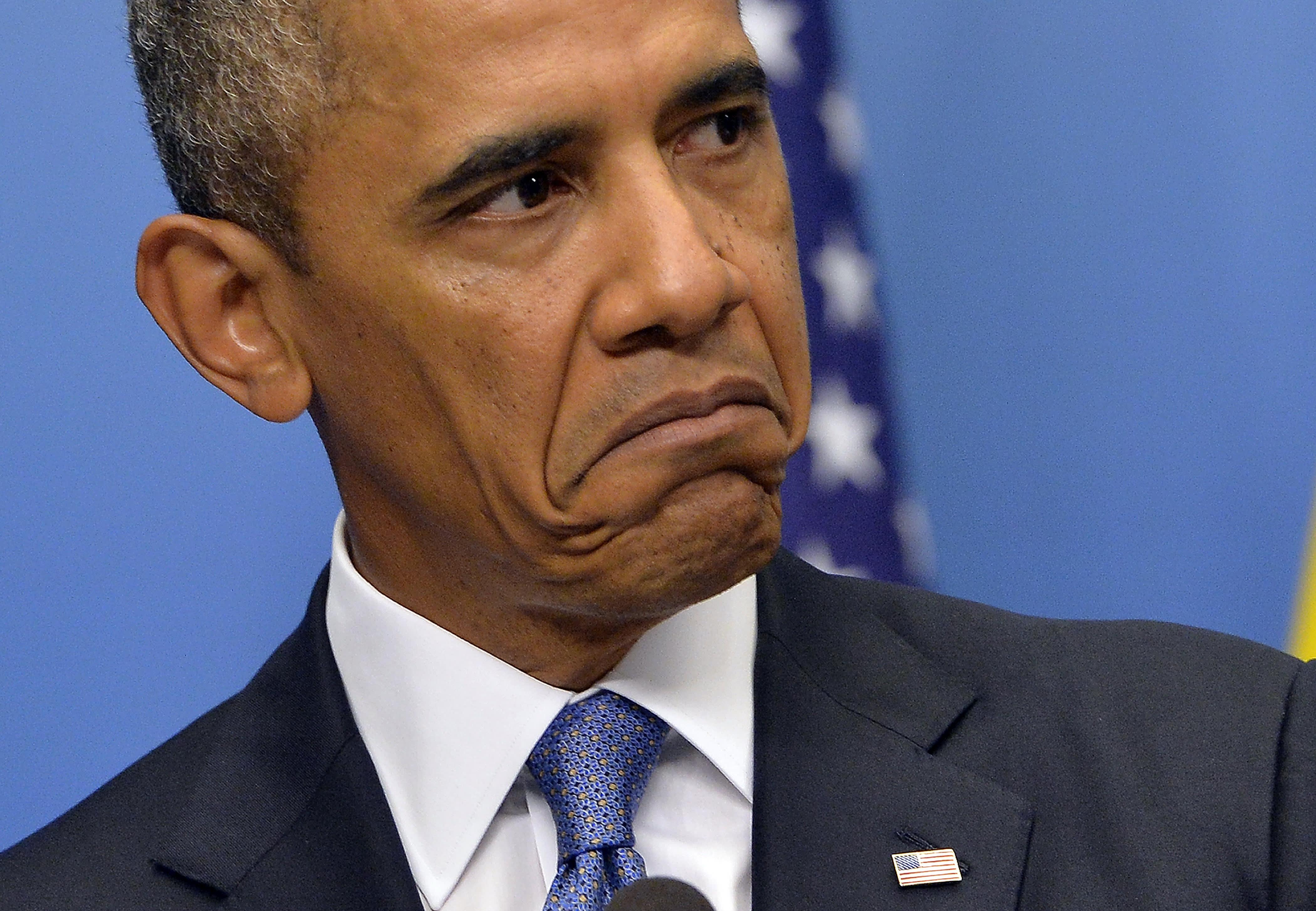 Premium: Barack Obama sad face troubled