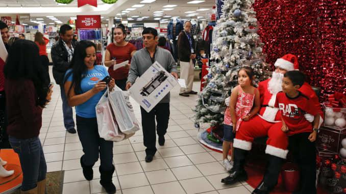GP: Holiday shopping retail sales Santa Claus mall