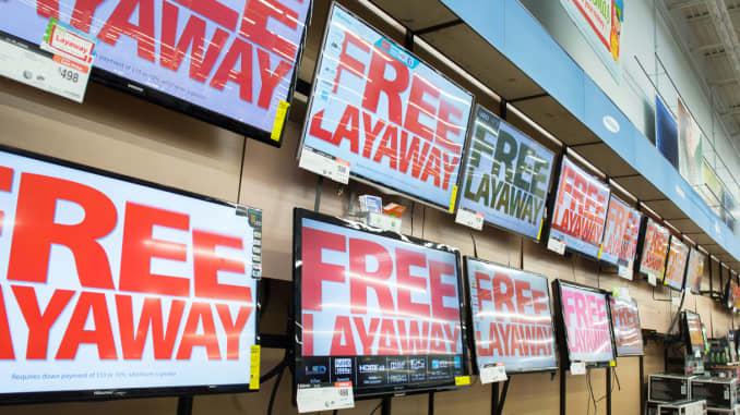 Reusable: Free Layaway signs on TVs at Wal-Mart