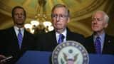 Senate Minority Leader Senator Mitch McConnell (R-KY) (2nd L), Senate Minority Whip Senator John Cornyn (R-TX) and Senator John Thune (R-SD).