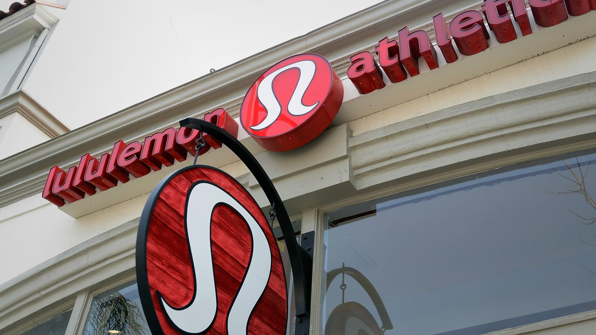 A sign is displayed on a Lululemon Athletica Inc. store in Pasadena, California.