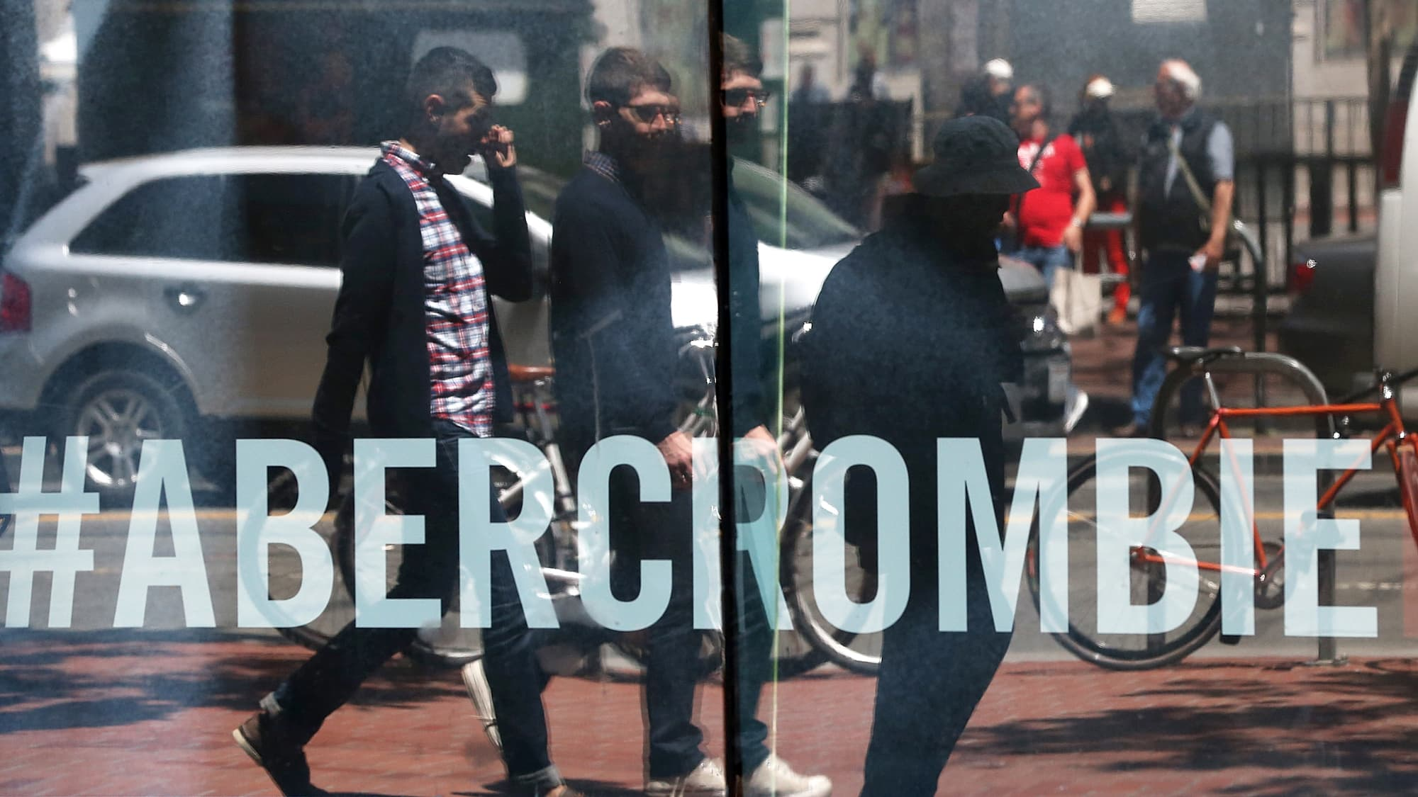 Reusable: Abercrombie & Fitch store with reflections of people