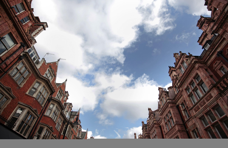 Residential properties are seen in a street in Mayfair, London, U.K.