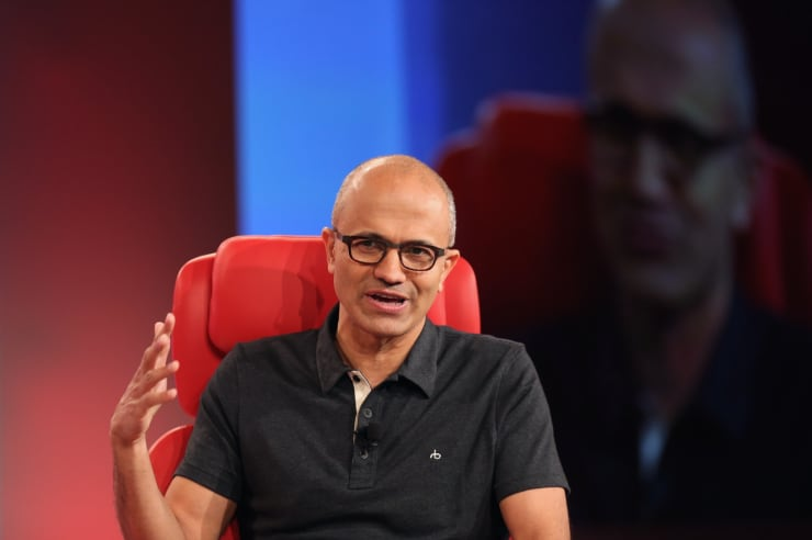 CNBC inhouse image of MSFT's Nadella at Re/code