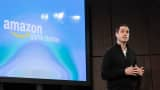 Amazon's vice president of games, Mike Frazzini, talks about the gaming components of the Amazon Fire TV, a new device that allows users to stream video, music, photos, games and more through their television, on April 2, 2014 in New York City.