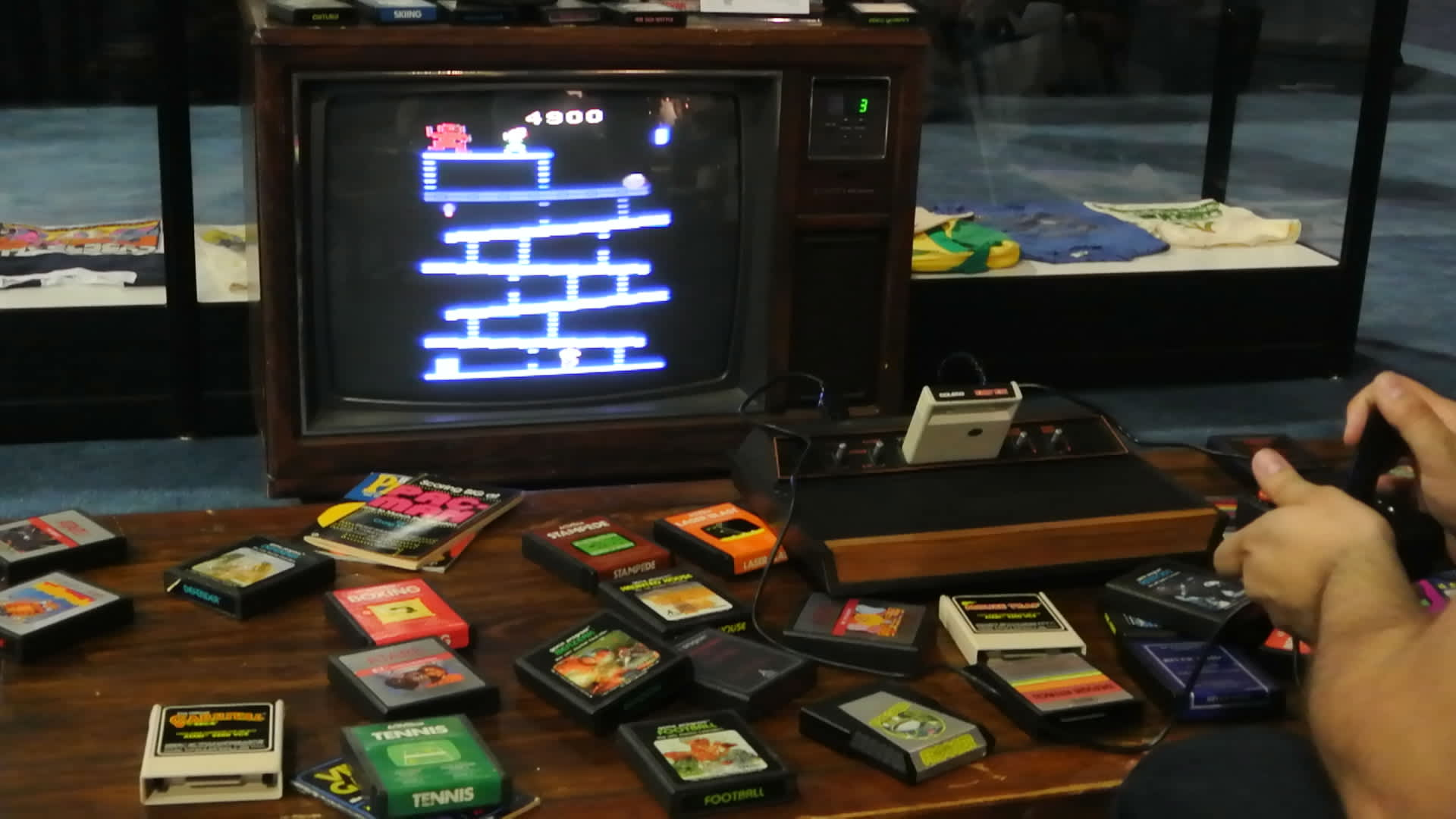 vintage Atari cartridges and console on display at the 2014 E3 Electronic Entertainment Expo.