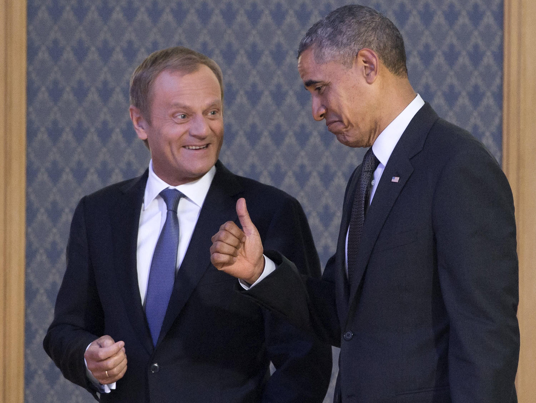 US President Barack Obama with Polish Prime Minister Donald Tusk