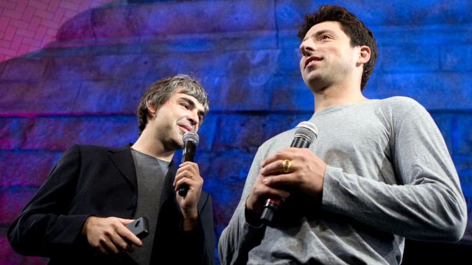 Larry Page, left, and Sergey Brin, co-founders of Google Inc.