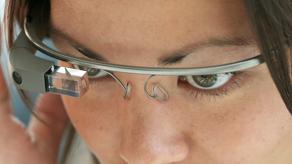 An attendee tries Google Glass during the Google I/O developer conference in San Francisco.