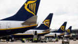 Ryanair planes on the tarmac in Stansted, U.K.