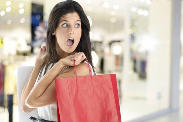 4cf0a193 Premium: Woman horrified, shocked shopping woman, shopping woman, shopping