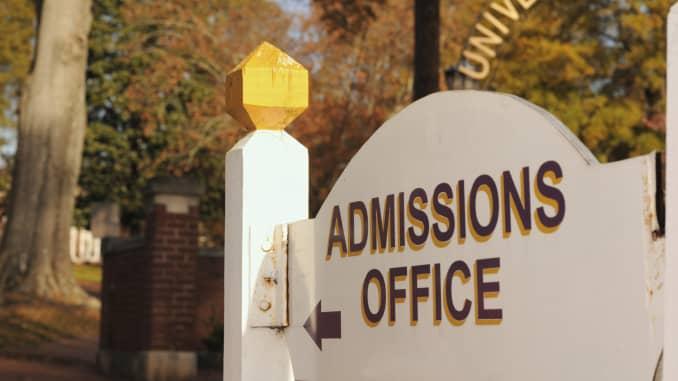 Premium: College admissions office sign