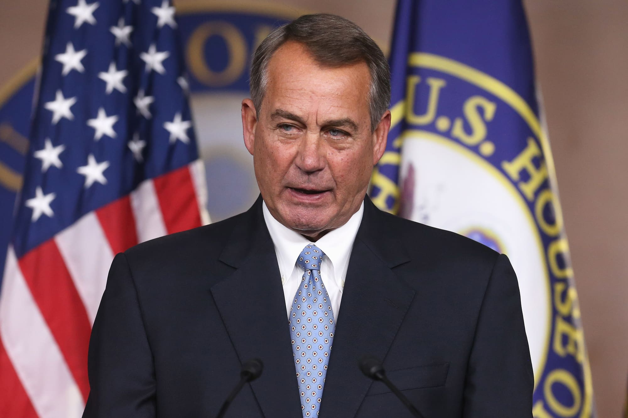 House Speaker John Boehner (R-OH) speaks to the media during a news conference at the U.S. Capitol, November 6, 2014 in Washington, DC.