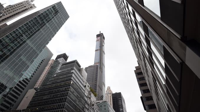 A view of 432 Park Avenue October 15, 2104 the day after it earned the distinction of being the country's tallest residential skyscraper.