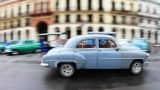 Classic cars line the streets of Havana, Cuba.