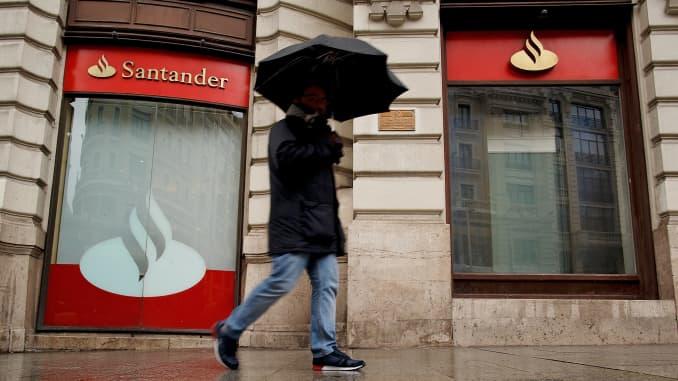 A Banco Santander office in Madrid, Spain.