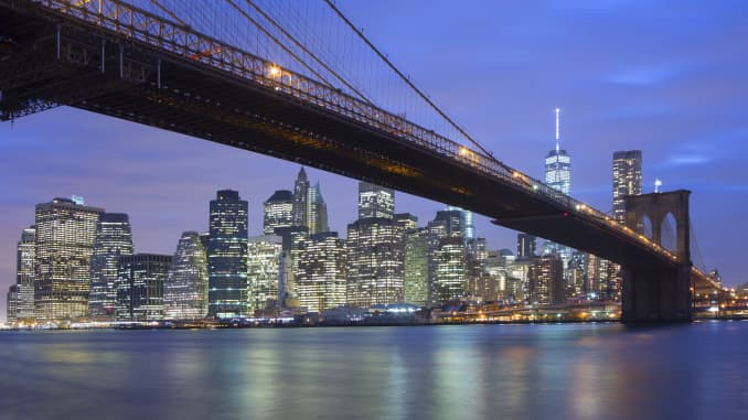 Premium: New York City Skyline and Brooklyn Bridge