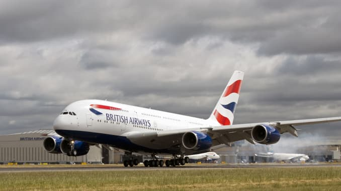 A British Airways Airbus A380 at Heathrow Airport in London.