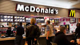 Customers at a McDonald's restaurant