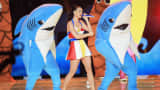 Katy Perry performs during the Super Bowl XLIX halftime show in Glendale, Ariz., Feb. 1, 2015.