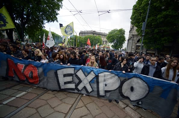 Students protest against the Milan Expo