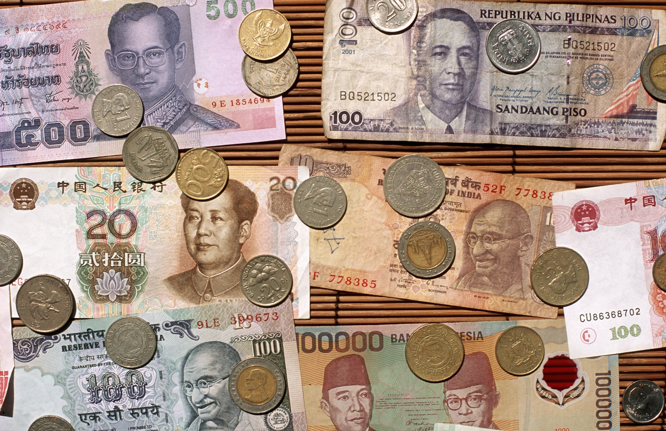 A mix of Asian currencies.