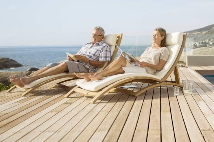 Premium: Retired couple poolside