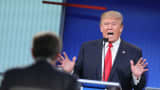 Republican presidential candidate Donald Trump fields a question during the first Republican presidential debate hosted by Fox News and Facebook at the Quicken Loans Arena in Cleveland, Ohio.