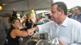 Republican presidential candidate, New Jersey Governor Chris Christie greets workers at the Italian American Heritage Festival on July 25, 2015 in Des Moines, Iowa