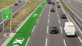 A simulation of what it may look like if special EV charging lanes were added to a British Motorway.