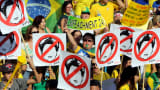 Demonstrators protest against Brazilian President Dilma Rousseff, calling for her impeachment, in Sao Paulo.