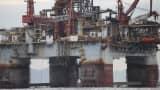 A Petrobras oil platform floats in the Atlantic Ocean near Guanabara Bay in Rio de Janeiro.