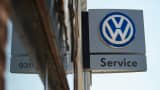 A sign marks the location of a Volkswagen dealership in Evanston, Illinois.