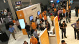 An overall view of the Amazon Web Services display at the AWS conference, October 7, 2015.