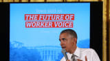 President Barack Obama speaks about jobs during an event at the White House on Oct. 7, 2015. The event had workers, employers, unions and other advocates in attendance.