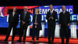 Democratic presidential candidates Jim Webb, Sen. Bernie Sanders (I-VT), Hillary Clinton, Martin O'Malley and Lincoln Chafee take the stage for a presidential debate sponsored by CNN and Facebook at Wynn Las Vegas on October 13, 2015 in Las Vegas, Nevada.