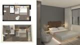 Moxy hotel room rendering.