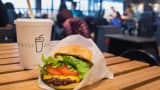 Shake Shack cheeseburger and drink.