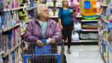 Shoppers look at merchandise at a Walmart store in Secaucus, N.J.