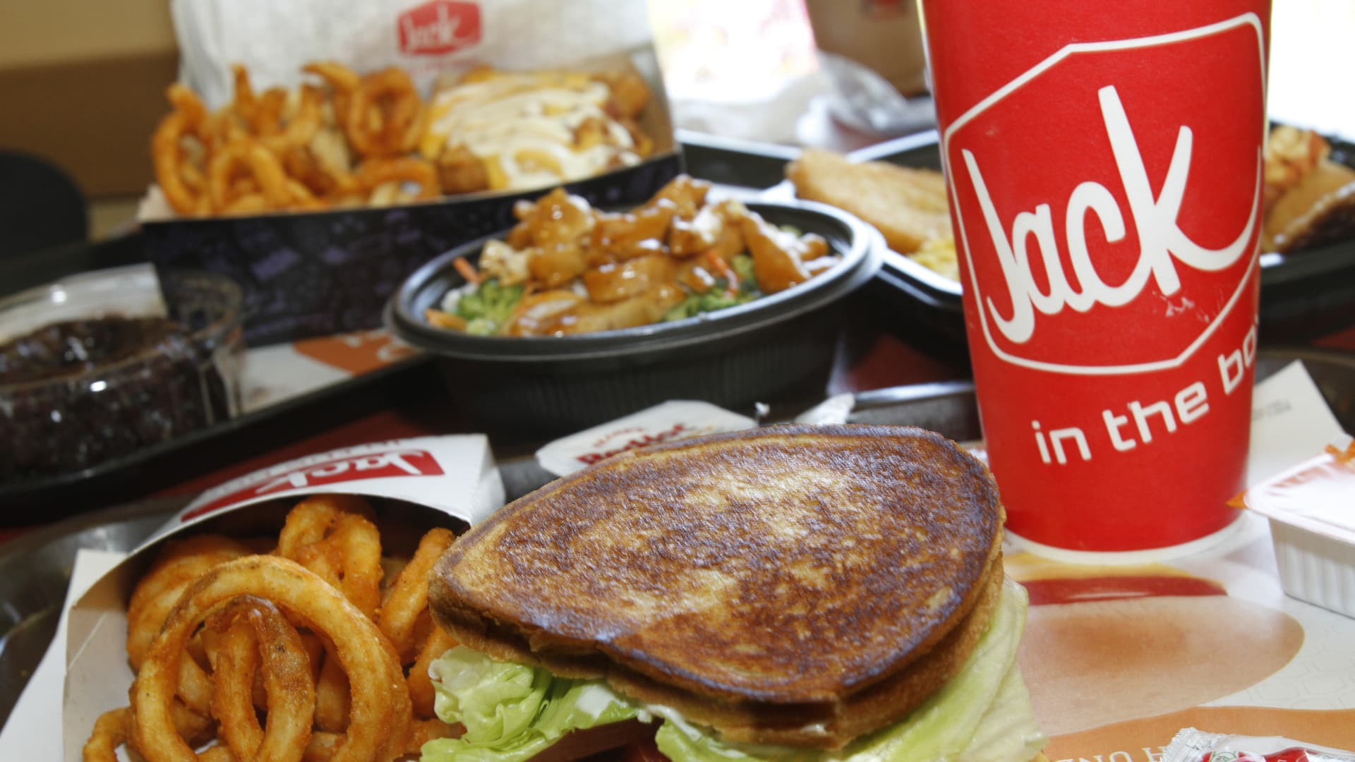 A selection of food that is on the menu at the Jack in the Box on Campus Drive in Irvine, Calif.