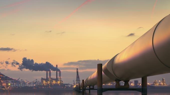 Oil pipeline and refinery.