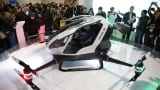 The EHang 184 unveiled at CES. The drone can carry a human passenger