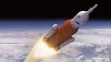 An artists rendering of Boeing's most powerful rocket, the Space Launch System or SLS.
