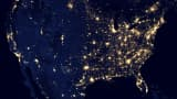 This image of the continental United States at night is a composite assembled from data acquired by the Suomi NPP satellite in April and October 2012.