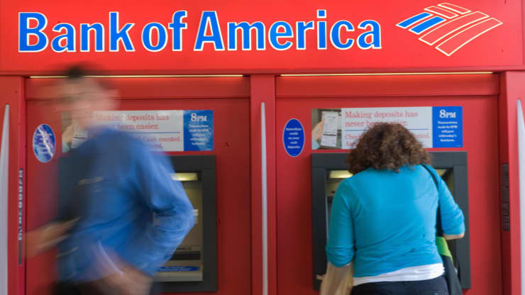 People using a Bank of America automated teller machine in Washington