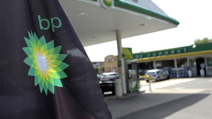 A BP company logo at a gas station in London, U.K.